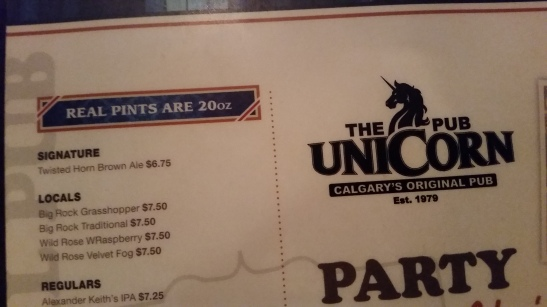 The Unicorn proudly states that their provide real pints. A full 20oz!